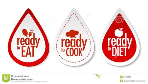 Ready To Eat And Diet Stickers Set Vector Illustration