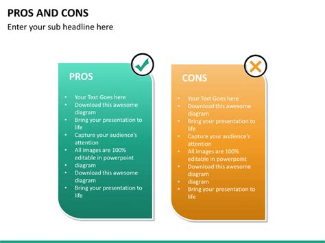 Pros and Cons PowerPoint Template   SketchBubble