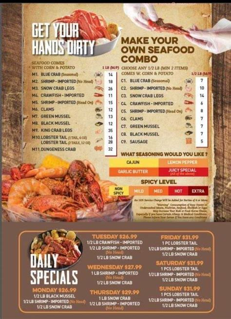 Online Menu of The Mighty Crab Restaurant, North Little